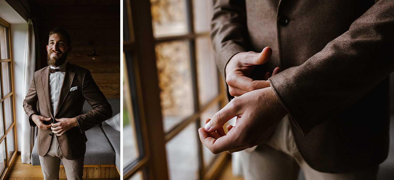 Bräutigam Getting Ready Hochzeit in Schadming