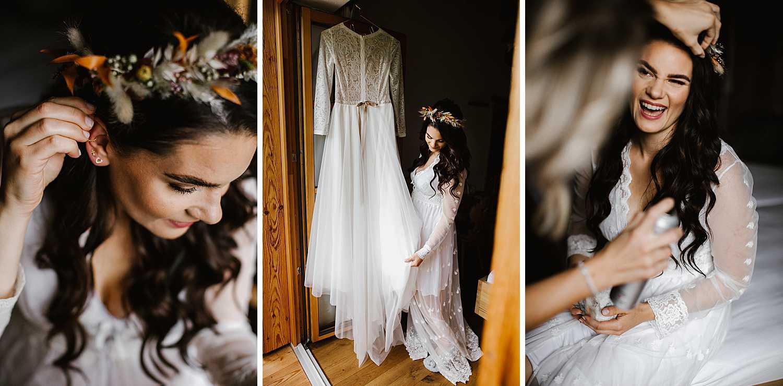 Braut Getting Ready Elopement Hochzeit in Schadming