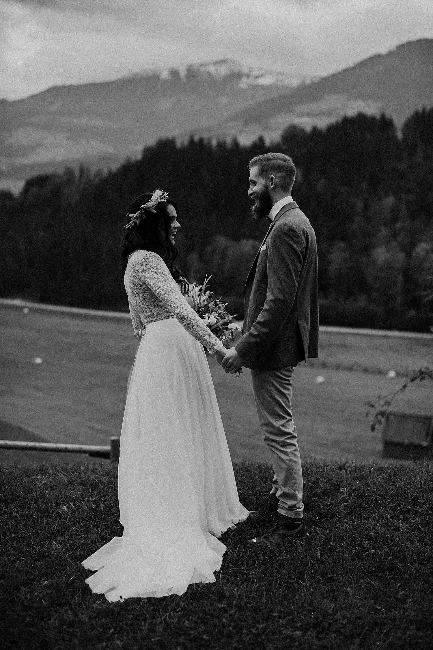 First Look Elopement Hochzeit in Schadming