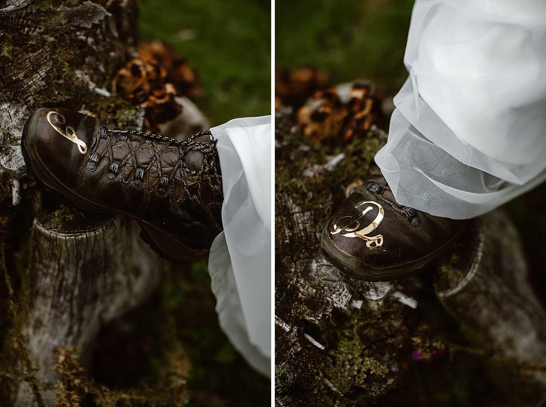 Brautlook für eine Elopement in den Bergen
